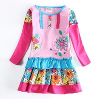 Wholesale Flower girls dress nova new arrivals winter babies clothes patterned patchwork pink cupcake dresses for little girls H5602