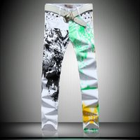 Wholesale 2015 New Mens Fashion Jeans Printing stamp White Black Leisure Jeans Pomo Personality Pants