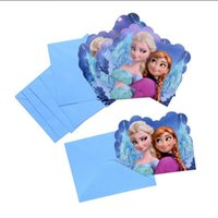 baby boy shower invitations - 6pcs Popular Frozen Elsa Anna Boys Girls Birthday Baby Shower Invitation Card Party Supplies