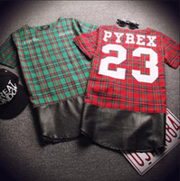 Wholesale Harajuku Fashion Green Red Plaid Shirts Men Off White Leather Patchwork Extended T Shirt Hip Hop Short Sleeve Streetwear