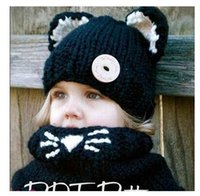 dhgate girls - Christmas Gifts Cat Scarf Caps Baby Girls Hat Winter Warm Neck Wrap Cute Hooded Scarf Earflap Knitted Caps Hot Dhgate