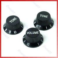 Vender 10sets / lot calientes Guitarras negras Strat Knob 1-Volumen-2 perillas de control de tono para Fender Stratocaster envío de la orden $ 18Nadie pista