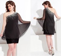 dress one size - Black Sweetheart One Shoulder Short Plus Size Special Occasion Dresses Crystal Backless Chiffon Party Homecoming Dresses Gown