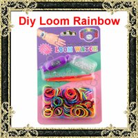 Wholesale Diy Knitting Braided Loom Watch Rainbow Kit Rubber Loom Bands Self Made Silicone Bracelet