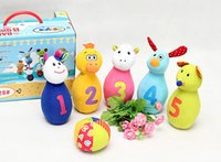 Wholesale 2015 New Child Plush Bowling Balls Children Animals Number Outdoor Home Fun Sports Game Toy Best Deal With Parents order lt no track