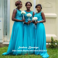 beads for africa - Turquoise Long Bridesmaid Dresses Cheap Africa A Line Scoop Applique Beaded Chiffon Dress For Wedding Party Middle East Custom Made