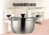 Wholesale 24 cmStainless steel capsuled bottom korea style higher layer bottom with two handle soup pot