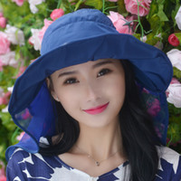 Wholesale Hat female spring and summer influx of large brimmed hat folding beach hat sun hat summer sun hat chiffon elegant ladies hats