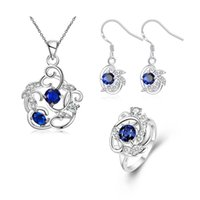 Wholesale 925 Sterling Silver Hollow Flower Sapphire Crystal Flower Zircon Necklace Earrings Ring For Women s Engagement Wedding Bride Jewelry Sets