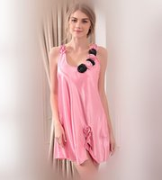 Wholesale top selling Summer High grade Silk Sling Silk Nightgown Sexy Homewear women sleepshirts fashion night skirt