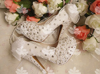 Wholesale 2016 Luxury Wedding Shoes Bridal White Pearls Flower Vintage High heeled Shoes Lace Wedding Bridal Shoes Waterproof Shoes With Bow
