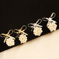 big bow knot earring - luxury gold plated bow knot earrings hot sale new fashion big pearl grapes party earrings for women