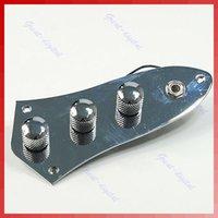 Envío gratuito cromo plateado con cable Cargado Placa de control para la guitarra Fender Jazz Bass con las perillas orden de las pistas $ 18Nadie