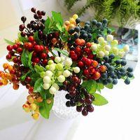 berry leaf - Floral Centerpiece DIY Wedding Arrangements Berry Artificial Silk Berry Flowers Leaf Home Table Craft Decoration
