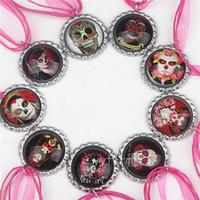Wholesale The Day of Dead Necklace Hot Pink Ribbon Necklaces Bottle Cap Pendants for Mexico Festival Decoration Skull Pendants for Children Kids Boys