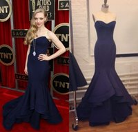 Reference Images amanda fashion - Vintage Amanda Seyfried Red Carpet Girls Gown Navy Blue Satin Evening Dress Sexy Cheap Mermaid Celebrity Dresses