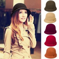 Wholesale Vintage Ladies Women Wool Bucket Cloche Fedora Bowler Dome Bow Hat Cap Headwear fx224