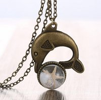 Finished Goods antique vintage jewelry - Vintage Antique Bronze Dolphin Seashell Starfish Pendant Necklace Women Retro Chain Necklace Glass Cover Dandelion Jewelry for women