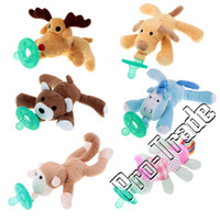 Wholesale Lovely High Quality Cartoon Cute Infant Baby Silicone Pacifiers with Plush Animal Non ToxicTool Safe Baby Nipples Teat Style