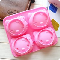 Wholesale Bakeware Cute cartoon Hello Kitty model even facial expression cat mold creative silicone cake mold baking mold Cookie tray