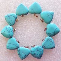Wholesale Interesting New Carved Blue Turquoise Heart Natural Gemstone Pendant Bead