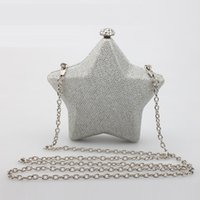 achat en gros de robe chatoyante or-Diamant Brillant Etoile Métal Mesh Solid Shoulder Bag Femmes Embrayage Etoiles Diagonal Sac De Soirée Robe Silencieux Pack Or Or
