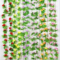 Wedding air condition ducts - 2 m Artificial Rose Flower Vine Wisteria Garland Home Living Room Air conditioning Ducts Hanging Ornament Wedding Decor