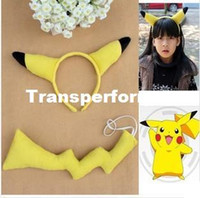 Wholesale Animal set Hair accessories Headband Tail Anime Pokemon PIKACHU Halloween Christmas Cosplay costume Party set RJ1785