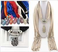 Wholesale Lady winter Mix Alloy stone Pendant Scarf Jewelry Beads Scarves Necklace Scarfs Ladies Scarfs Jewelry Scarves Shining Stone Scarf E86L