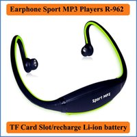 Wholesale 2016 Fashion Earphone outdoor Sports MP3 Music Players Headset Headphone support TF Card built in Li ion battery MP3 player R