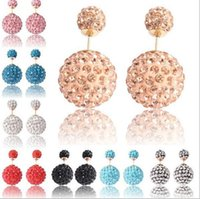 shamballa earrings - Double Sided Disco Ball Shamballa Stud Earring Reversible Wearing Caly Pave Crystal Rhinestone Pairs Colors to Choose