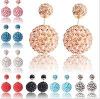 Cheap Shamballa double sided earring Best 2 ends earring