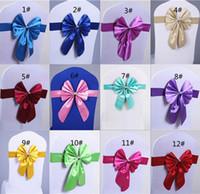 Bow satin ribbon - High Quality Wedding Satin Ribbon Chair Sashes Bands Party Banquet Decor Bows cm All Colors Bridal Accessories