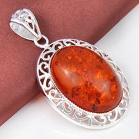 amber pendant necklace - Luckyshine Party Holiday Jewelry Unique Oval Amber Gems Sterling Silver Plated Pendants Russia Australia Jewelry