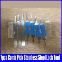 Wholesale 7pcs Comb Pick Stainless Steel Lock Tool Locksmith Tool for House Lock professional locksmith supplies hot sale