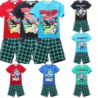 Cheap best selling new Summer cartoon baby clothes suit boys t-shirts+Pants 2 PCS cartoon Minecraft clothes baby clothing cotton clothes suit set