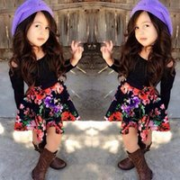 european clothing - New Arrival Kids European Style Best Sale Fashion Floral Outfit Long Sleeve T shirt And Tutu Skirt Two Pieces Set Kids Spring Clothes