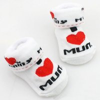 Wholesale 1 Pair Kawaii Cute Soft Newborn Baby Socks Cotton Slip resistant Floor Socks Love Mom Love Dad Cartoon Socks Months