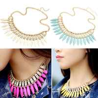 Wholesale Bohemian Turquoise Crystal Exquisite Tassel Necklace Women Sweater Bib Choker Necklaces Adjustable Yellow White Blue Rose J0029