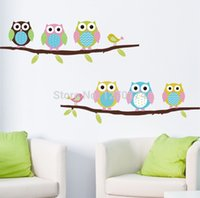 Wholesale Hot sell cute owls animal trees popular new special design kids room house decals wall paper stickers
