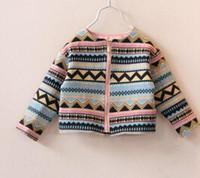 aztec jacket - 2015 Spring Vintage Waved Floral Jackets Kids Girl Long sleeve zipper aztec Cardigan Children s outwear