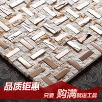 Wholesale Jasmine stone mosaic metal mirror puzzles living room entrance TV wall bathroom tiles affixed
