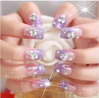 Cheap Wholesale-Luxury French Rhinestone false nails 24pcs glue-on fingernails fashion Wedding party Beauty Fake Nail Art tips Stickers tools