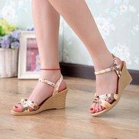 Wholesale New Summer Flower Printed Sandals Women Brand Ankle Strappy High Heel Women Sandals Shoes Designer Women Beach Sandals