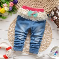 baby pink skinny jeans - 2016 Sale Rushed Girl Spring Autumn m m m t Skinny Spring Autumn Baby Girls Sweet Denim Pants Children Lace Bow Jeans