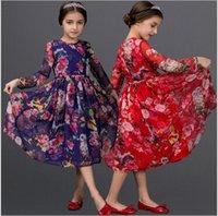 kids clothes high quality - 2015 Summer Children Long Sleeve Flower Printing Dress Children Kid Clothing Color High Quality Printing Flowre Dresses Vintage Dress