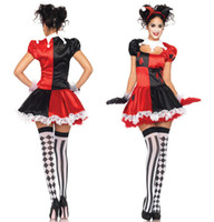 Wholesale 2016 Harley Quinn Costume Women Funny Clown Costume for Adult Circus Cosplay Halloween Costumes For Women Carnival