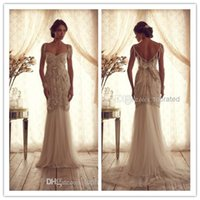 Wholesale 2015 Anna Campbell Wedding Dresses Cap Sleeves Open Back Sweep Train Sheath Beads Bows Crystal Tulle Bridal Gowns Custom Made