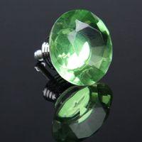 Wholesale IMC Diamond Shape Crystal Glass Drawer Pull Handle Knob Green order lt no track