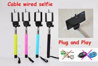 Wholesale Audio cable wired Selfie Stick Extendable Handheld Remote Shutter Monopod for iPhone IOS Android Galaxy note S4 With Retail Box US09